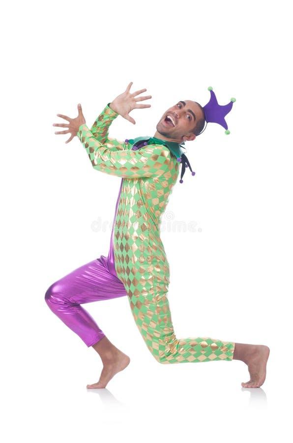 Man clown. Isolated on white royalty free stock photos