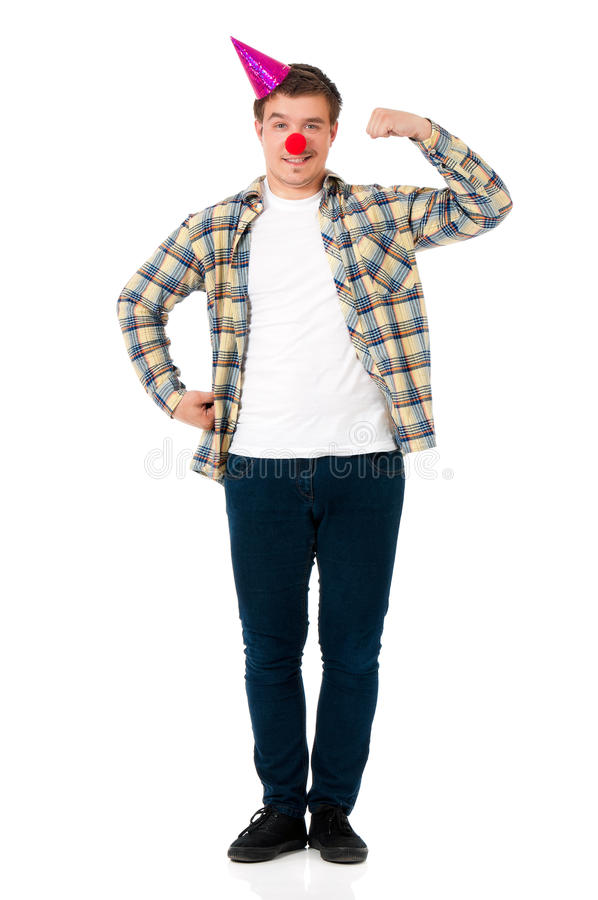 Man with clown nose stock image