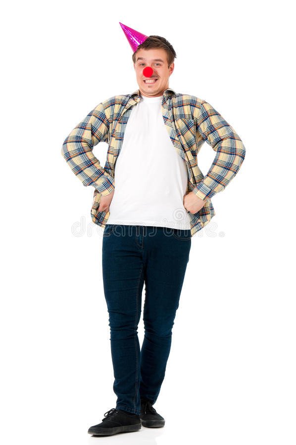 Man with clown nose royalty free stock photo