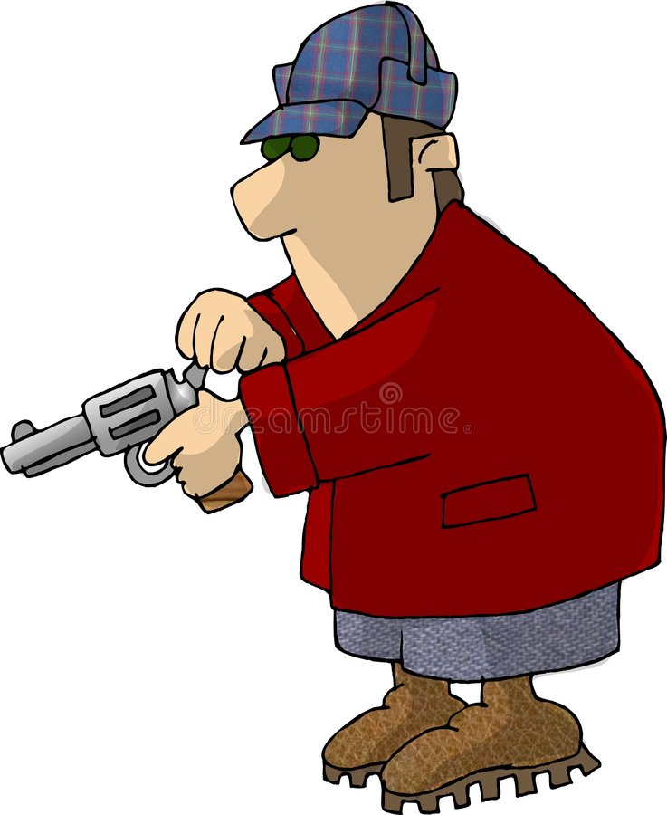 Man cocking a pistol royalty free illustration