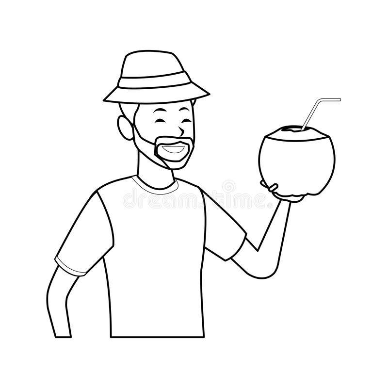 Man with coconut drink. Isolated half body in white background vector illustration graphic design vector illustration