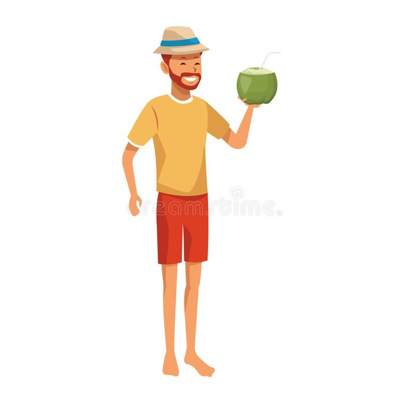 Man with coconut drink. Isolated in white background vector illustration graphic design vector illustration