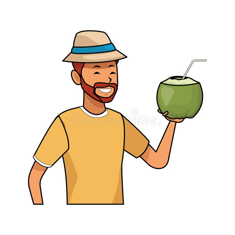 Man with coconut drink. Isolated half body in white background vector illustration graphic design royalty free illustration