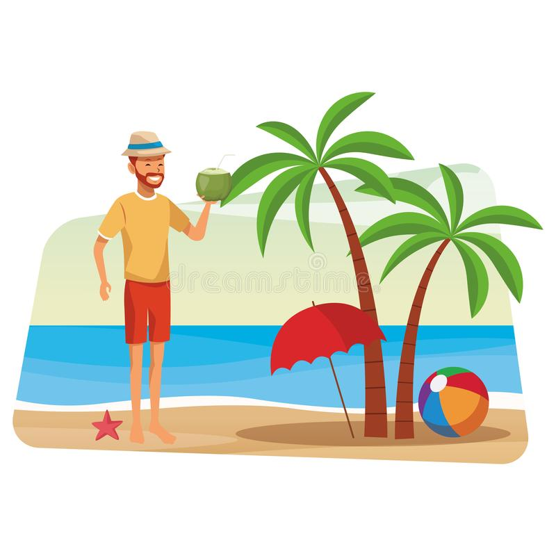 Man with coconut drink. With umbrella palm tree seascape vector illustration graphic design vector illustration
