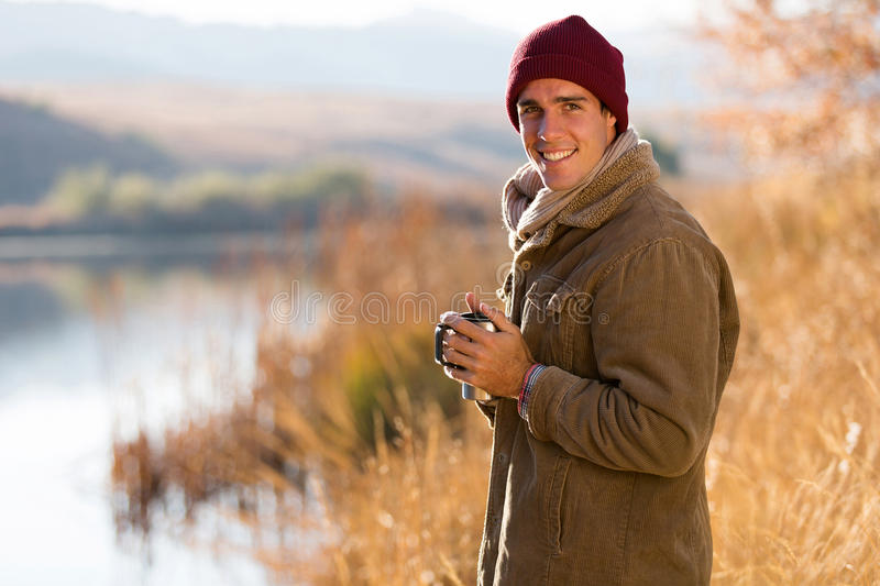 Man coffee fall stock photography