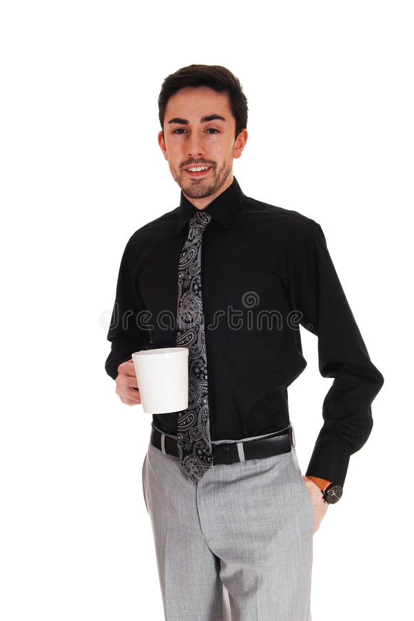 Download Man with coffee mug. stock image. Image of expression - 39505993