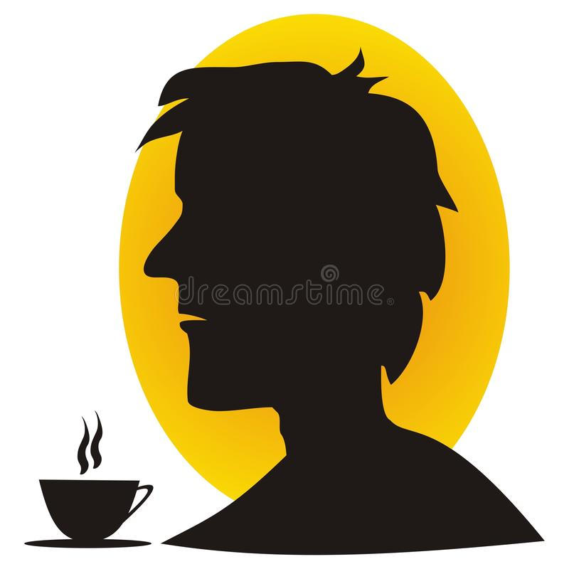 Man and coffee. Silhouette of man eating breakfast coffee vector illustration