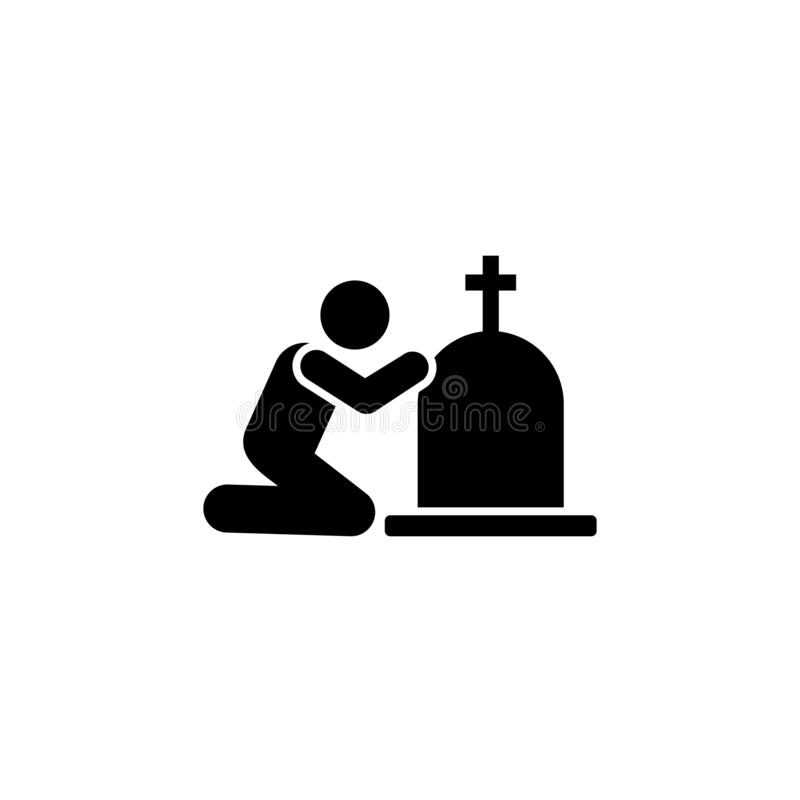 Man coffin burial funeral sorrow icon. Element of pictogram death illustration.  royalty free illustration