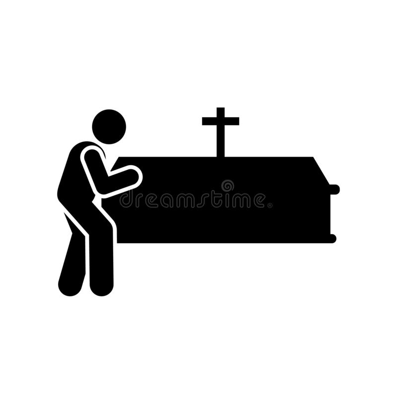 Man coffin funeral burial icon. Element of pictogram death illustration.  stock illustration