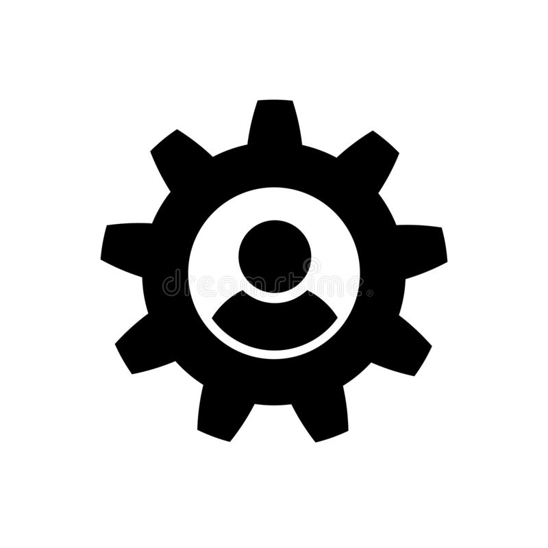 Man and cog icon in flat style vector illustration