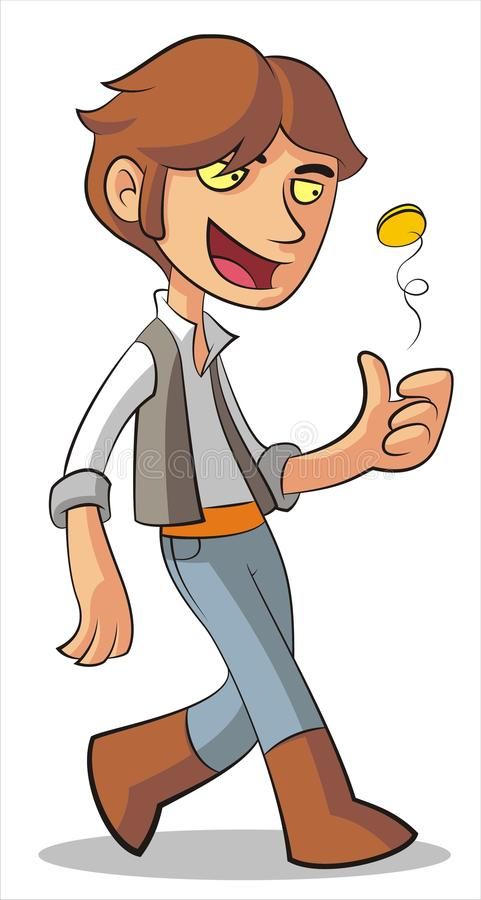 Man with coin. Walking man with gold coin in vector vector illustration