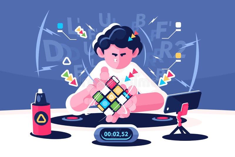 Man collect Rubik Cube timer championship concept vector illustration