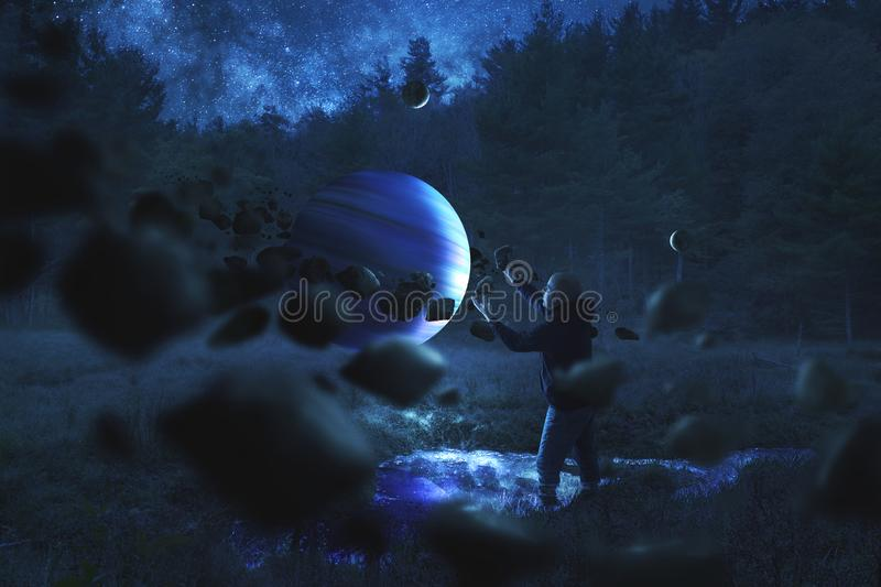 Man collecting rocks around a planet royalty free stock image