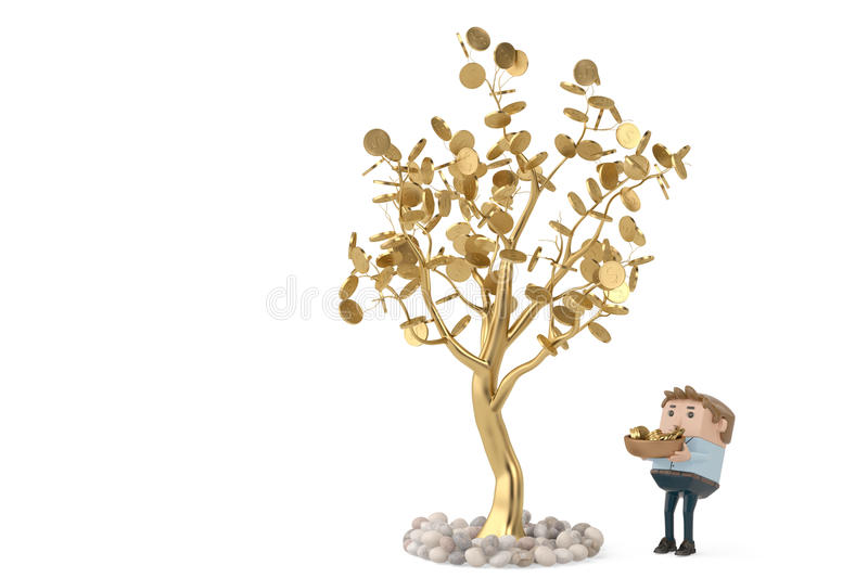 A man collects gold coins under the golden tree.3D illustration. stock illustration