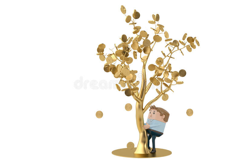 A man collects gold coins under the golden tree.3D illustration. royalty free illustration