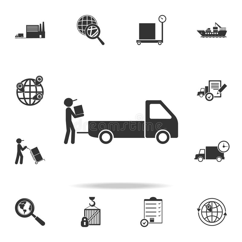 Man collects packing boxes in a pickup truck icon. Detailed set of logistic icons. Premium graphic design. One of the collection i. Cons for websites, web design stock illustration