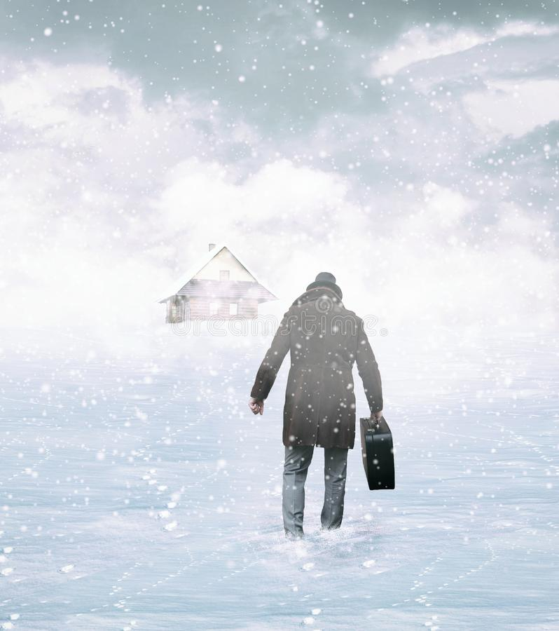 Man is Coming Home royalty free stock image