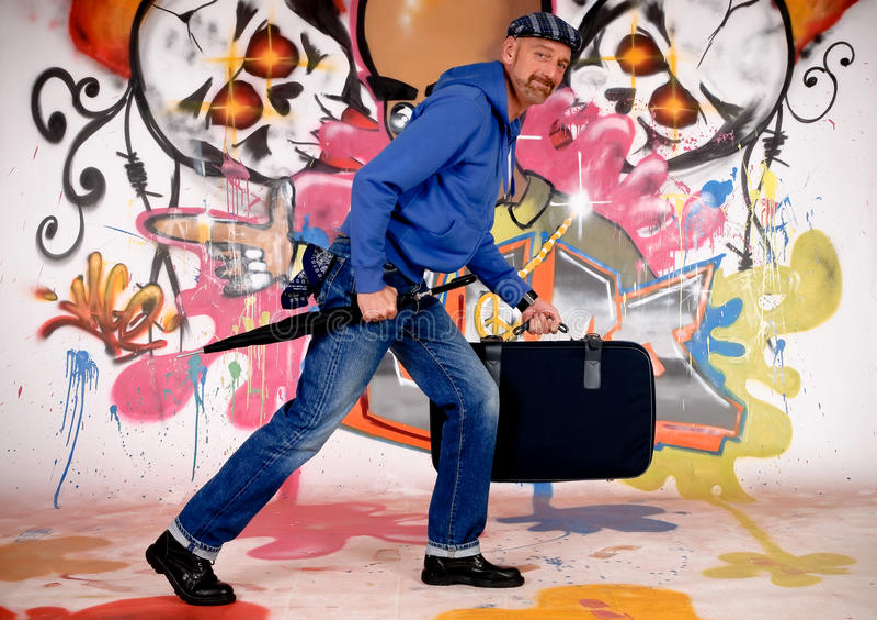 Man commuter, urban graffiti stock photography