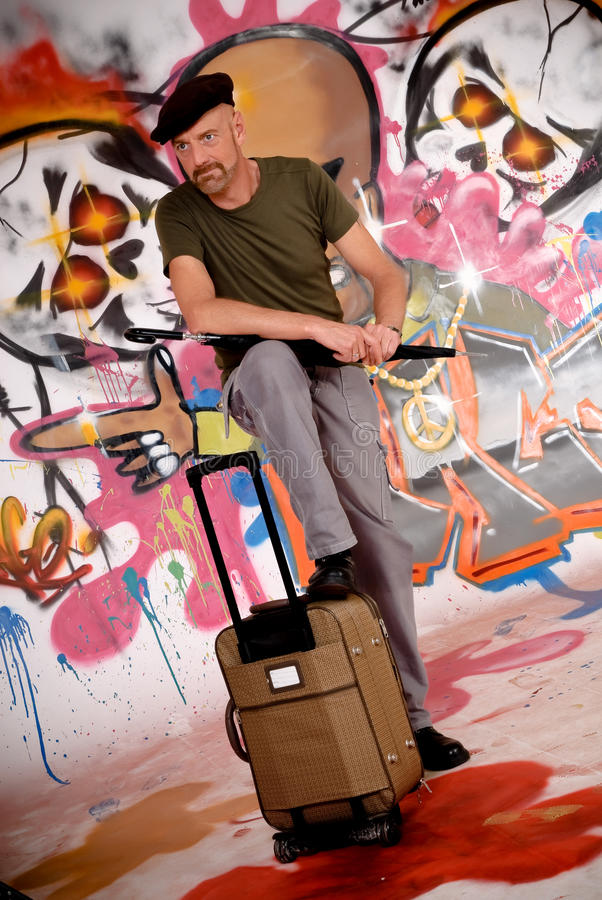 Man commuter, urban graffiti stock images