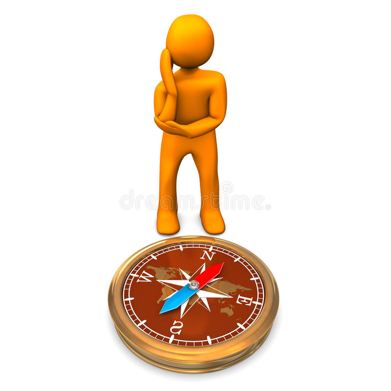 Download Man and compass stock illustration. Illustration of reading - 26635536