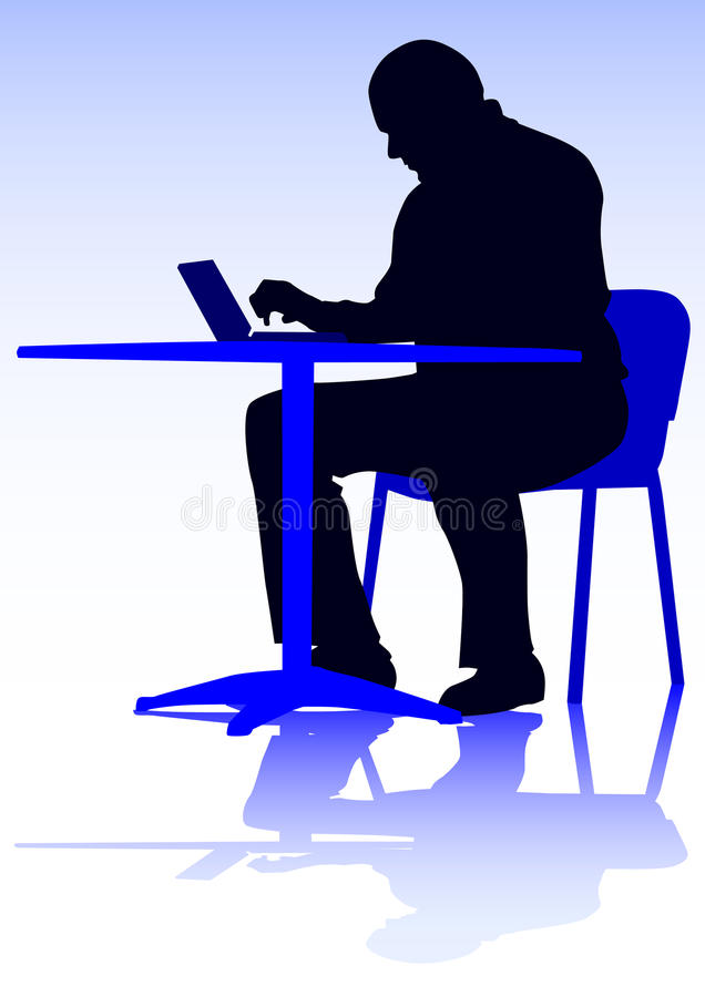 Man with computer. Drawing of a man with a personal computer. Silhouette on people royalty free illustration