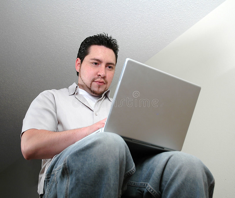Man and computer-2 royalty free stock photo