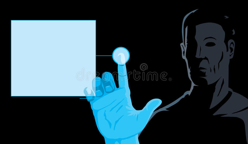 Man and computer. Man working on a computer screen royalty free illustration