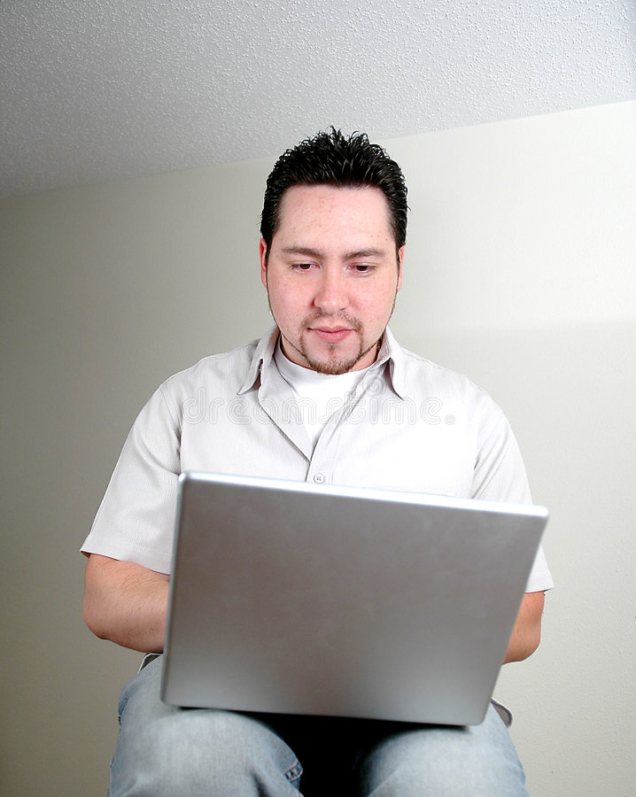 Man and computer-5 stock photo