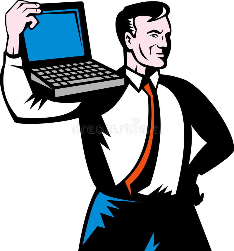 Man computer notebook laptop. Illustration of a Man carrying computer notebook laptop on his shoulders stock illustration
