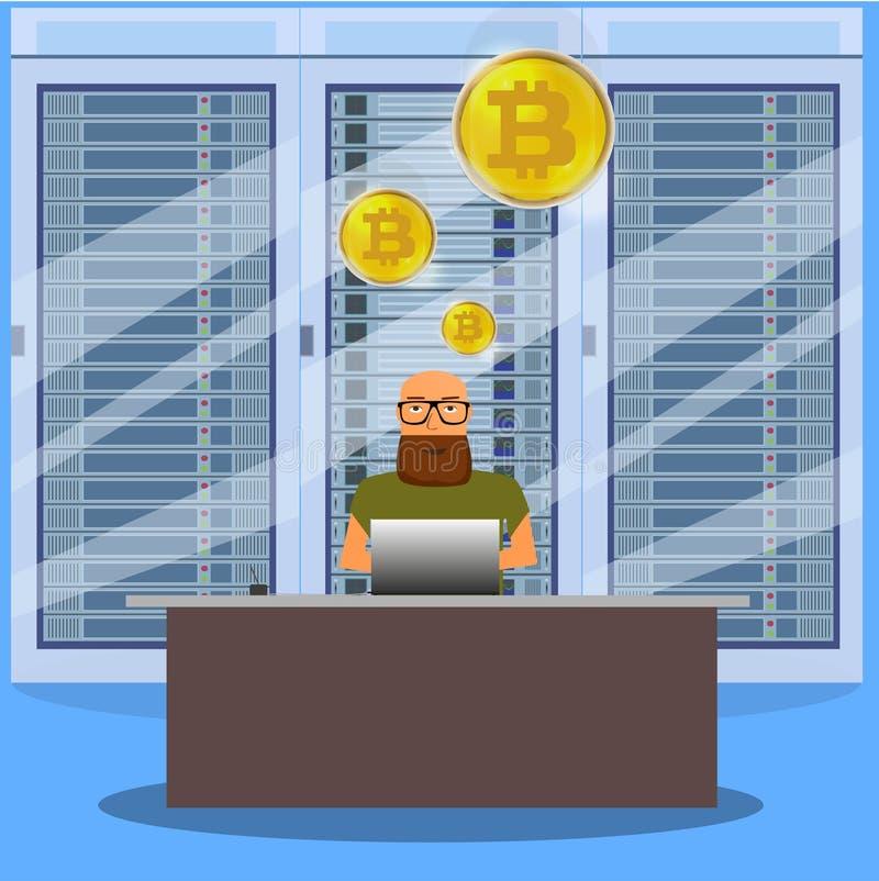 Man on computer online mining bitcoin concept. Bitcoin farm. Golden coin with Bitcoin symbol vector illustration