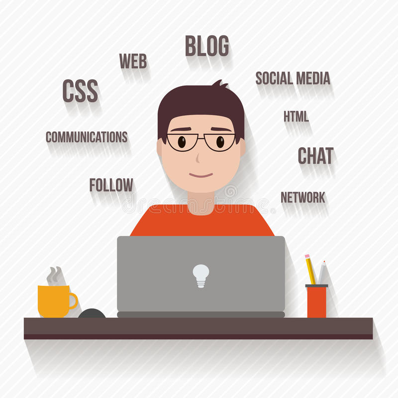 Man with computer. People avatars in flat style. Man with computer. Vector illustration stock illustration