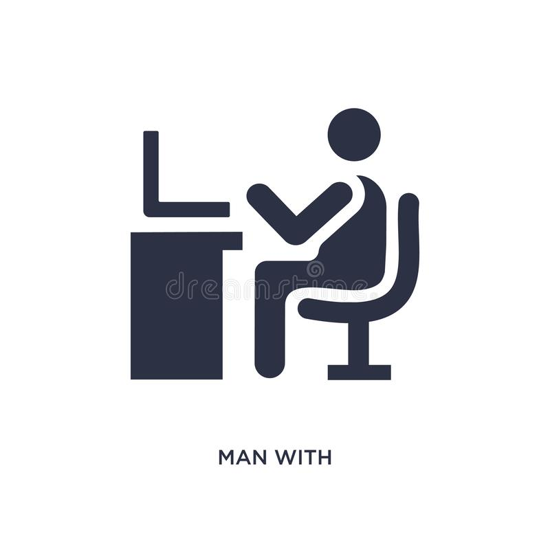 man with computer screen icon on white background. Simple element illustration from behavior concept vector illustration