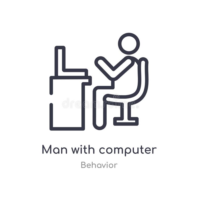 Man with computer screen outline icon. isolated line vector illustration from behavior collection. editable thin stroke man with. Computer screen icon on white vector illustration