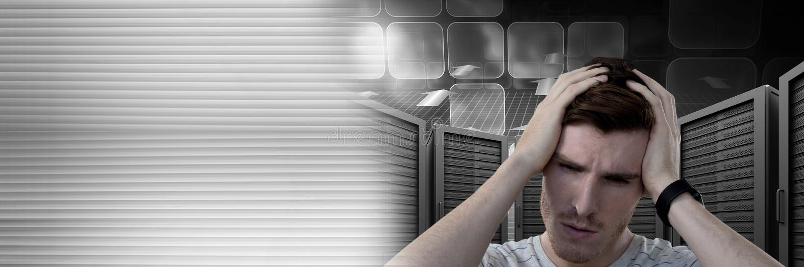 Man with computer servers and technology information interface transition royalty free stock images