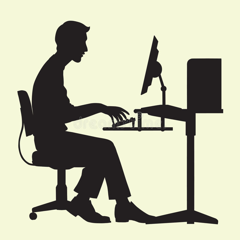Man on Computer. Silhouette of a man typing on a computer royalty free illustration