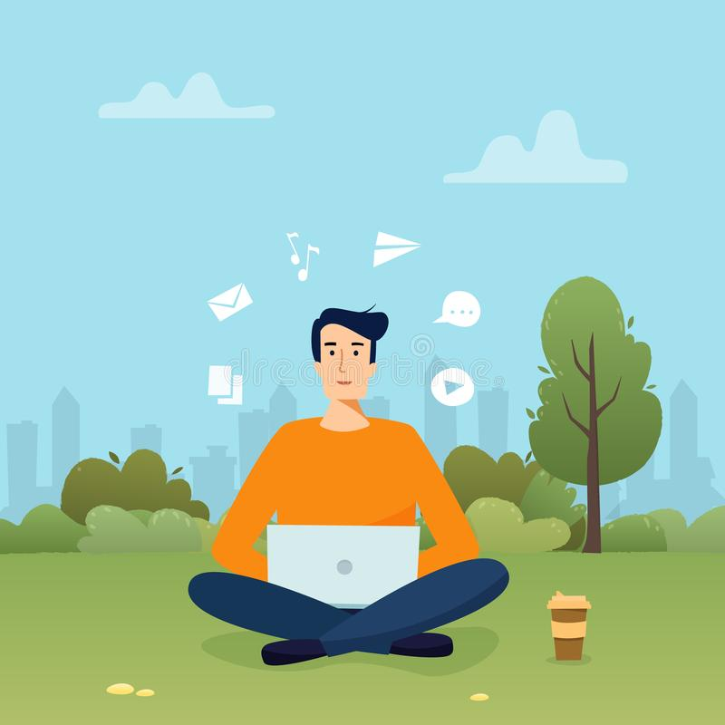 Man with computer work in park. Freelancer with coffee. Flat cartoon style vector illustration royalty free illustration