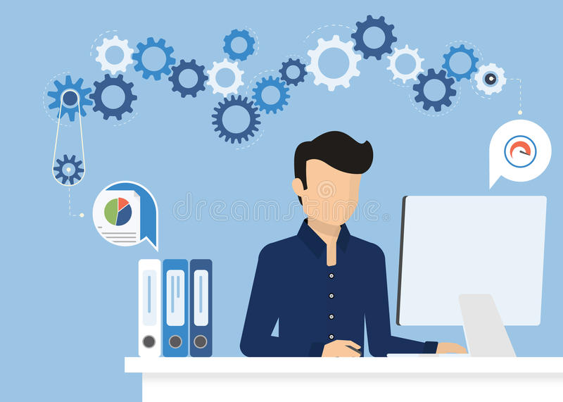 Man with computer. Man is working with computer. Flat modern illustration of working process vector illustration