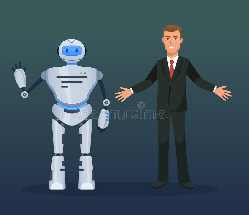 Man at conference, presentation of electronic mechanical robot, bot, humanoid. vector illustration