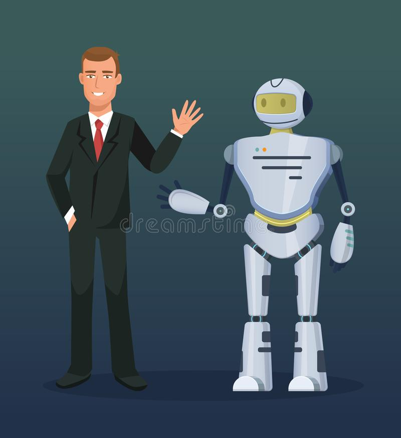 Man at conference, presentation of electronic mechanical robot, bot, humanoid. stock illustration