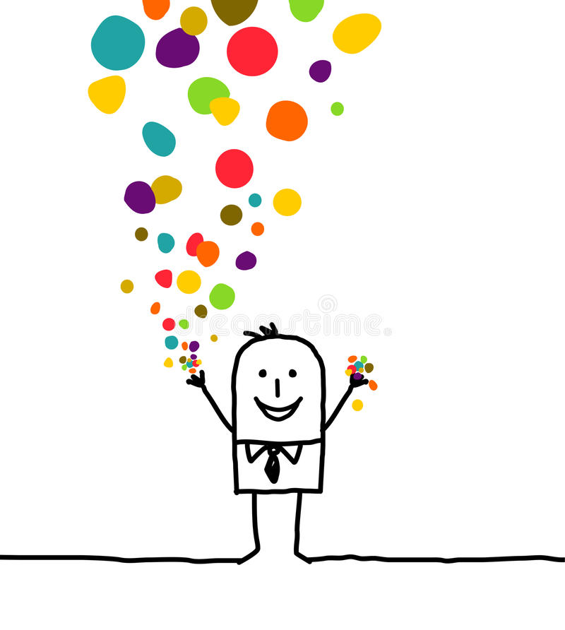 Man & confetti. Hand drawn cartoon character - man & confetti