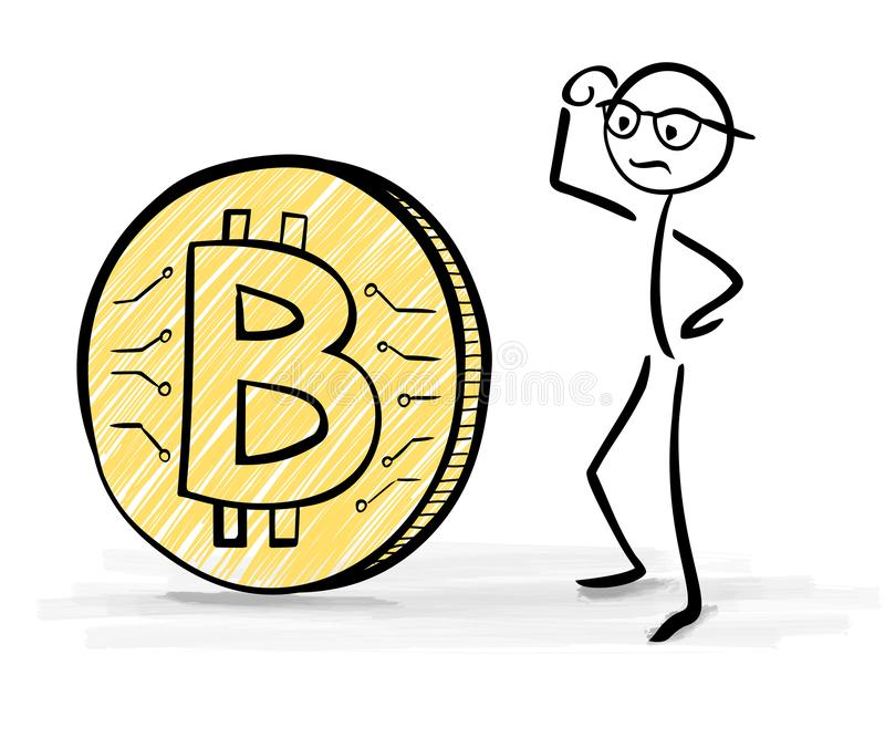 Man Confused About Bitcoin - Stick Figures vector illustration