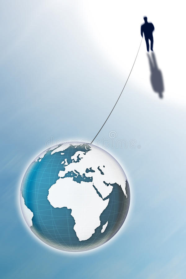 Man connected with the world. Conceptual image expressing the sense of the strong bond between man and Earth. Photocomposition with image from NASA. - Photo royalty free stock photo