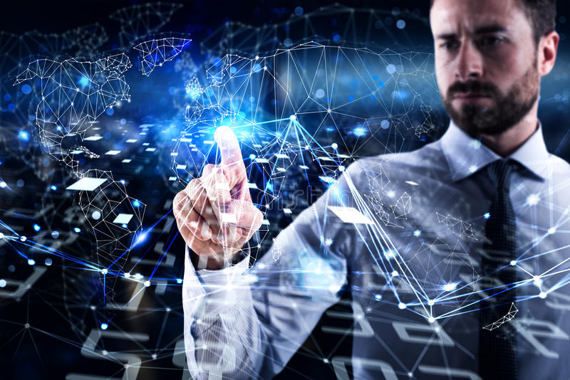 Man connecting to global world. Concept of interconnection, internet and network stock images