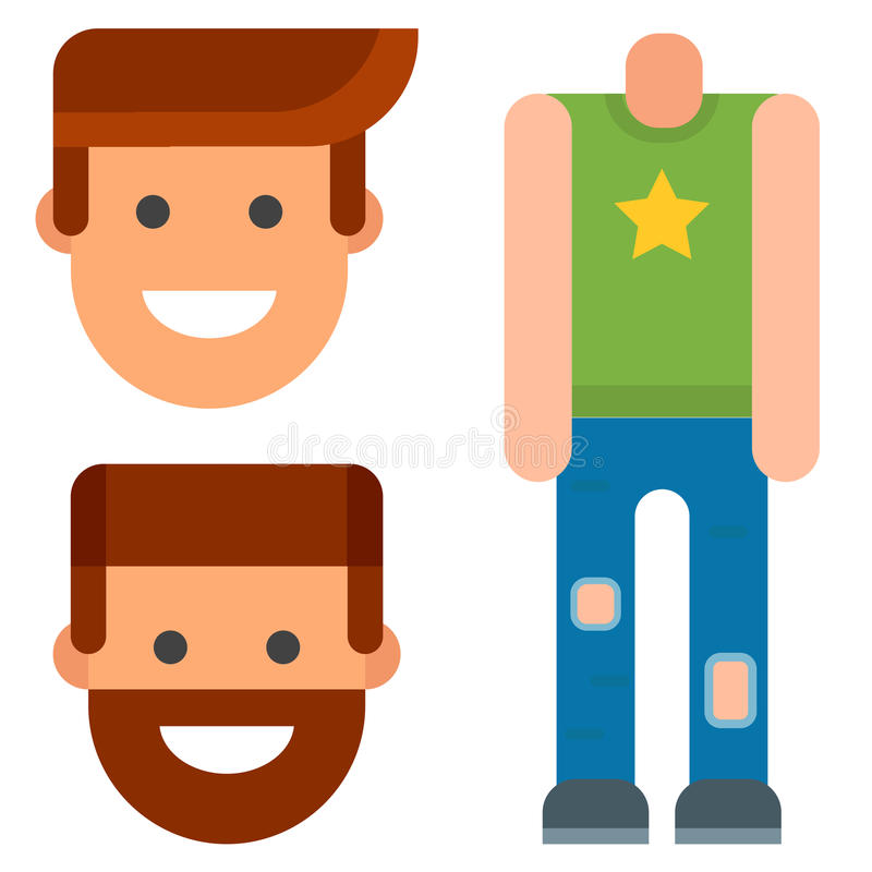 Man constructor body avatar creator vector cartoon character creation spare parts spares animation. royalty free illustration