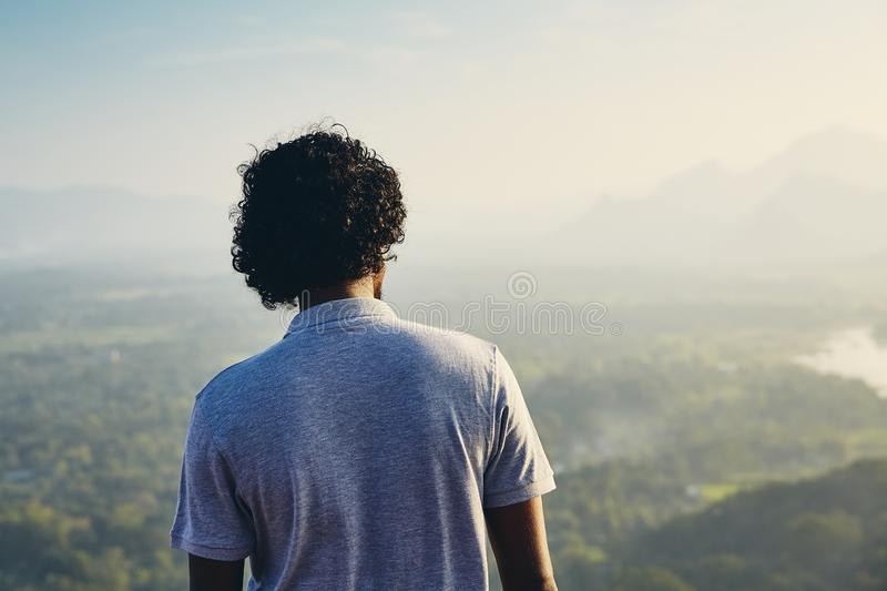 Man contemplation at the sunset royalty free stock images