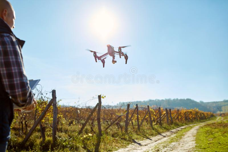Man control drone in air royalty free stock photos