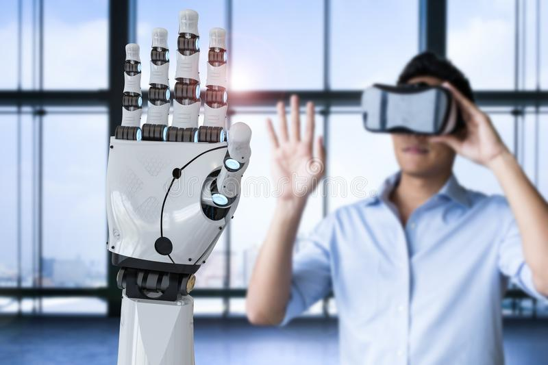 Man control robot stock photo