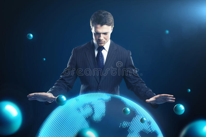 Man is controlling the earth models. vector illustration