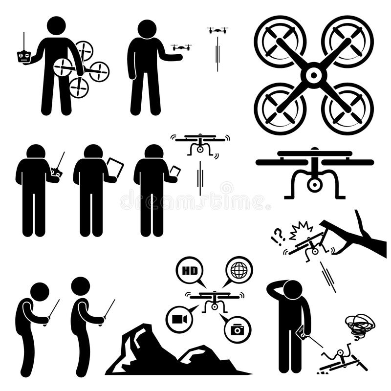 Man Controlling Flying Drone Quadcopter Clipart. A set of human pictogram representing man playing drone quadcopter. The drone can be controlled by remote