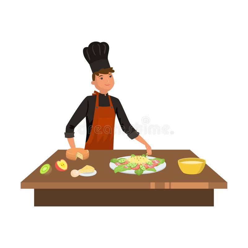 Man cook in uniform cooking cesar salad vector illustration royalty free stock images